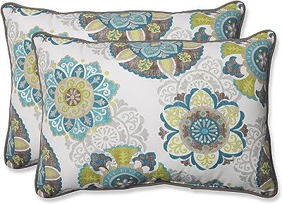 """Pillow Perfect Outdoor/Indoor Allodala Oasis Oversized Lumbar Pillows, 24.5"""" x 16.5"""", Blue, 2 Pack"""