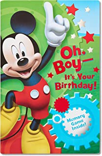 American Greetings Mickey Mouse Birthday Greeting Card for Boy with Memory Game