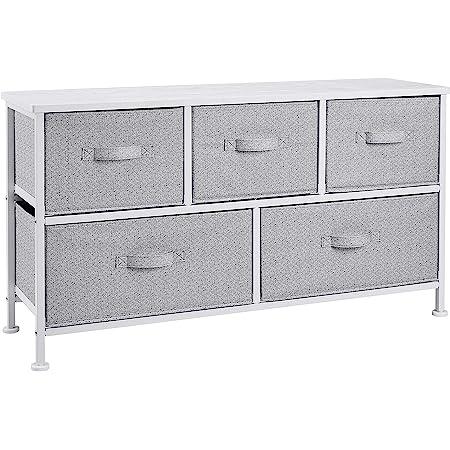Amazon Basics Commode extra large pour armoire - 5 tiroirs en tissu - blanc