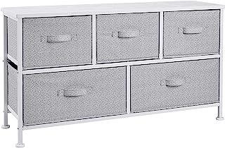 AmazonBasics Unidad de almacenamiento extraancha de tela con 5 cajones para armario blanco