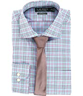 LAUREN Ralph Lauren Non Iron Poplin Stretch Classic Fit Spread Collar Plaid Dress Shirt
