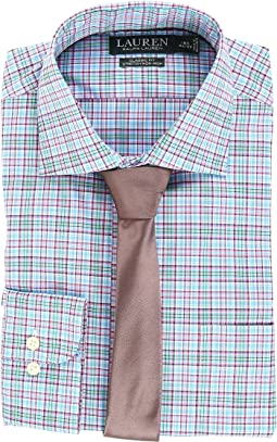 Non Iron Poplin Stretch Classic Fit Spread Collar Plaid Dress Shirt