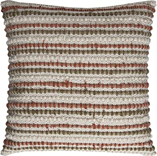 """Rizzy Home Decorative Pillow, Rust/Olive, 20"""" x 20"""""""