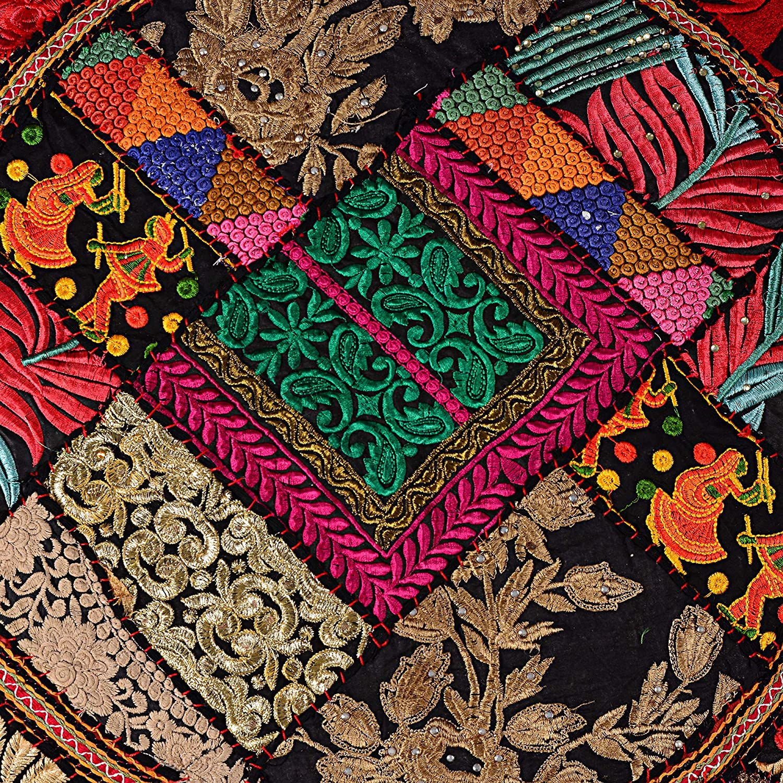 Black flyingasedgle Indian Handmade Colorful Floor Decor Round Pillow 32 inch Bohemian Meditation Cushion Floor Cushion Indian Seating Ottoman Cover