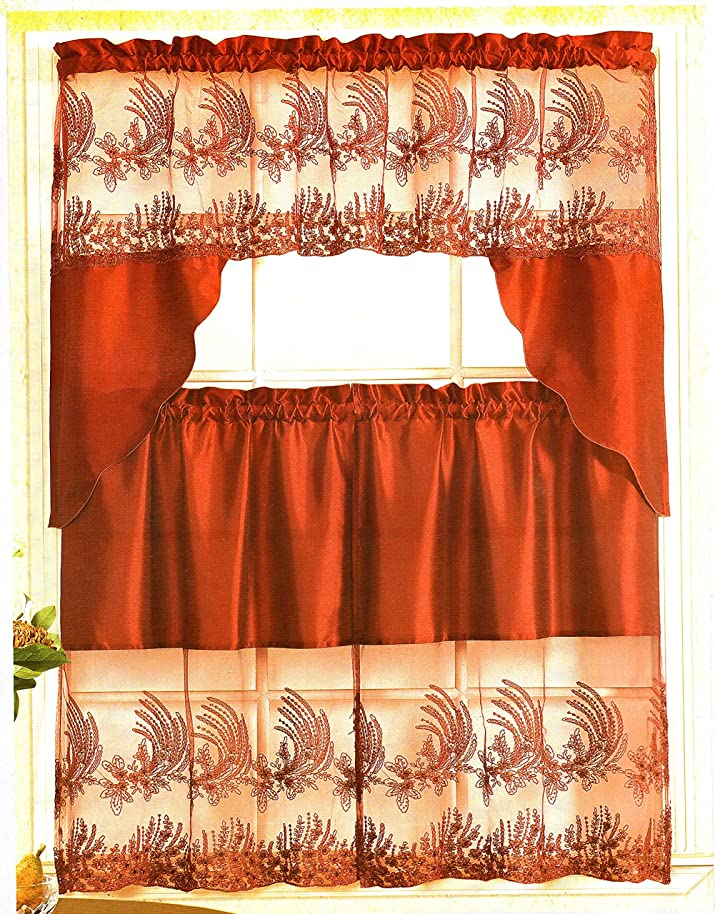 Home Collection Embroidered Kitchen Curtain Tiers & Swag Set Burgundy, 60x36 & 30x36 By American Linen