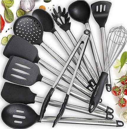 11 Silicone Cooking Utensils Kitchen Utensil set - Stainless Steel Silicone Kitchen Utensils Set - Silicone Utensil Set Spatula Set - Silicone Utensils Cooking Utensil Set - Kitchen Tools and Gadgets