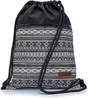By Bers LEON Turnbeutel mit Innentaschen in Schwarz-Weiß Rucksack Tasche Damen Herren & Teenager Gym Bag Draw String Stars&Waves