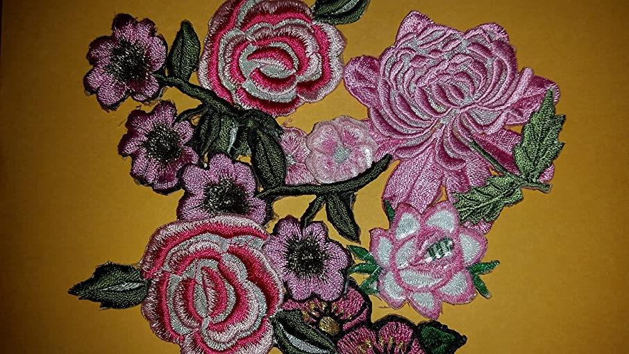CraftbuddyUS 10 Iron On Stick, Sew On Fabric Pink Flower Motifs, Craft, Sewing, Embroidery Patches