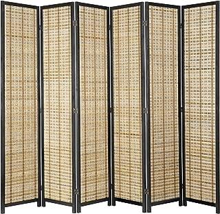 MyGift Freestanding 6-Panel Bamboo & Black Wood Framed Folding Room Divider Screen