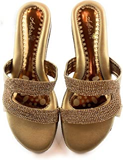 Ladies Indian Handmade Fashionable, Heel Style Leather Sandals. ADORA ASI 405-Antique Gold