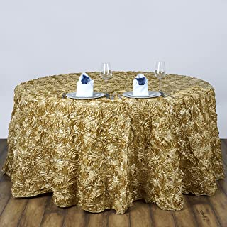 """BalsaCircle 120"""" Champagne Satin Raised Rosettes Round Tablecloth Wedding Party Dining Room Table Linens"""