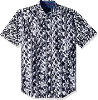 Bugatchi Men's Slim Fit Short Sleeve Navy Printed Shirt