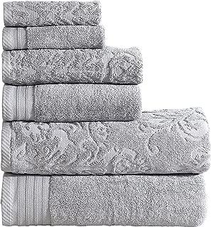 Panache Home Collection 6 Piece Jacquard/Paisley Collection 100-percent Cotton 600 GSM Towel Set - Platinum