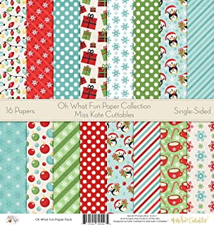 Pattern Paper Pack - Oh What Fun - Scrapbook Premium Specialty Paper Single-Sided 12