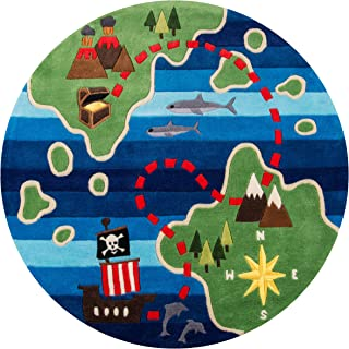Momeni Rugs LMOJULMJ25MTI500R Lil' Mo Whimsy Collection, Kids Themed Hand Carved & Tufted Area Rug, 5' Round, Treasure Map Green & Blue