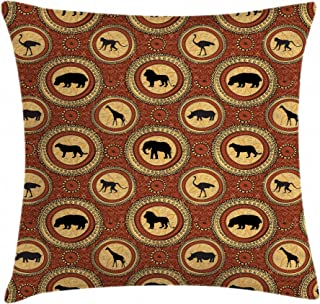 Eunice Albert Africa Monkey Lion Rhino Pillow Cover Suitable for Room Bedroom Room Sofa Chair Car Linen Throw Pillow Case 24 x 24 Inch Square Hypoallergenic - Wrinkle Resistant Pillowcase