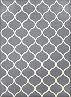 Maples Rugs 5 x 7 Large Area Rugs [Made in USA] for Living, Bedroom, and Dining Room, Grey/White