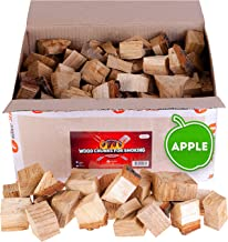Apple wood chunks for smokers - 15lb - smoking wood for grilling / barbecue - 100% natural smoker wood chunks for cooking - size of chunks 2-3''