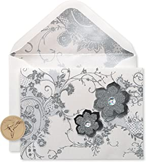 Papyrus Blank Cards with Envelopes, Lace and Flowers with Glitter (8-Count)