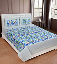 Cozyland Printed 130 TC Polycotton Double Bedsheet with 2 Pillow Covers - Blue10