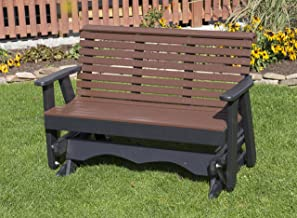 Ecommersify Inc 5FT-Cedar-Poly Lumber ROLL Back Porch Glider Heavy Duty Everlasting PolyTuf HDPE - Made in USA - Amish Crafted