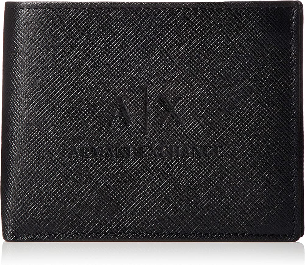 Armani exchange leather trifold, porta carte di credito, portafoglio da uomo, in vera pelle 958058CC223