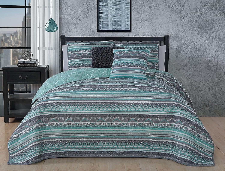 Avondale Manor Meridian 5PC Quilt Set - King-Mint,