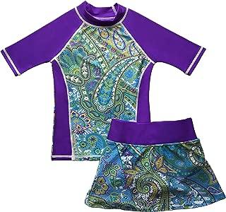 Girls Rash Guard Sun Protective UV Swim Shirt & Bikini Swim Skirt Set