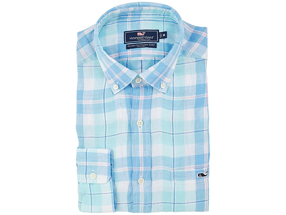 Vineyard Vines Upper Bluff Plaid Classic Tucker Shirt (Pool Side) Men