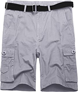 87ceb2652e4 Wantdo Men's Summer Belted Cotton Work Shorts Loose Fit Cargo Shorts