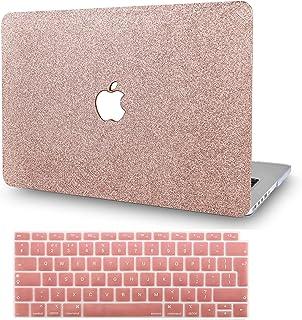 "KECC MacBOok Air 13"" Retina Funda (2020/2019/2018, Touch ID) Dura Case w/EU Cubierta Teclado MacBook Air 13.3 Ultra Delgado Plástico {A1932} (Chispeante Oro Rosa)"