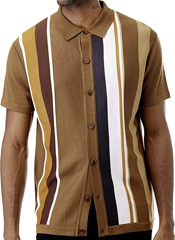 Men's Vintage Clothing | Retro Clothing for Men Men's Short Sleeve Knit Sports Shirt - Modern Polo Vintage Classics: Vertical Stripe Color Block  AT vintagedancer.com
