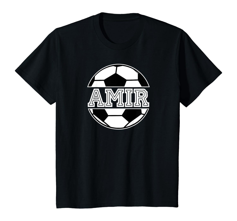 Kids Soccer Boy Amir Birthday Soccer Ball Kid's Name Shirts