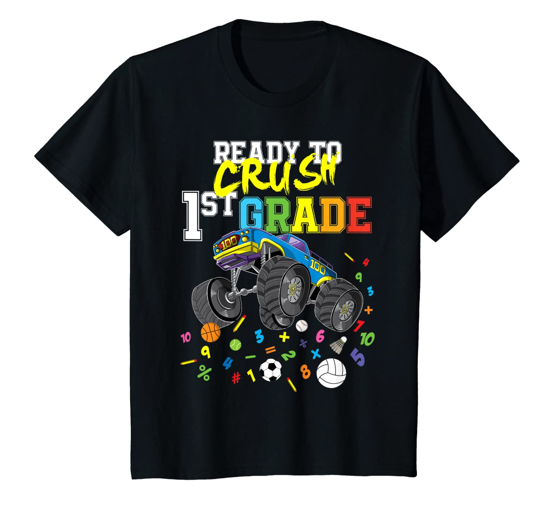 Back To School First Grade Crushing Big Truck Shirts