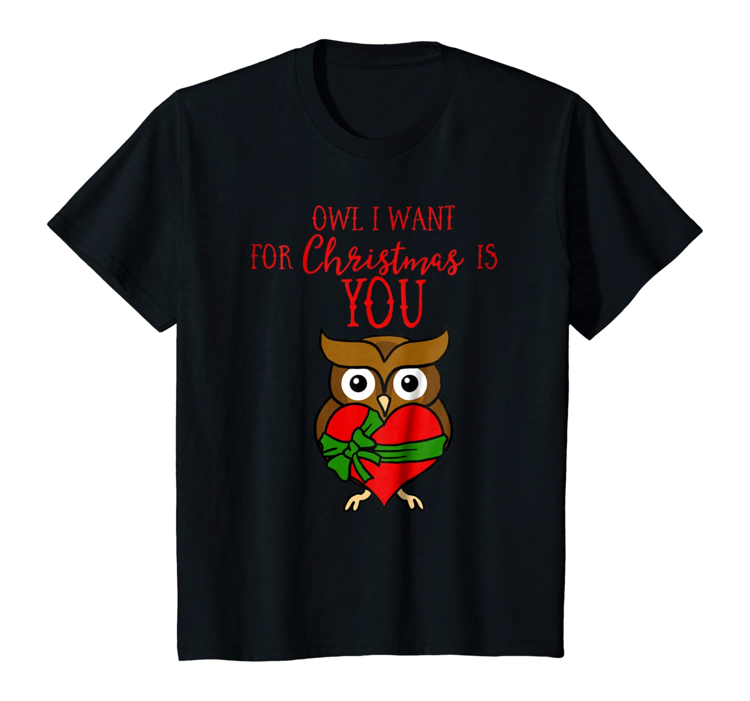 Owl I Want For Christmas Is You Owl Heart Gift Xmas T-Shirt Youth