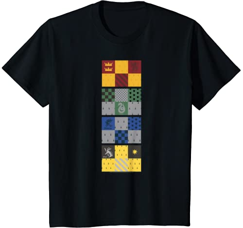 Kids Harry Potter Hogwarts House Checkered Flags T Shirt