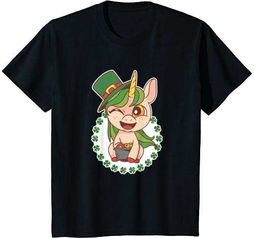 Kids Funny St Patricks Day Irish Unicorn With Hat T Shirt