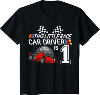 Kids 1 Year Old Race Car Birthday Party 1st Racing Track Gift T-Shirt