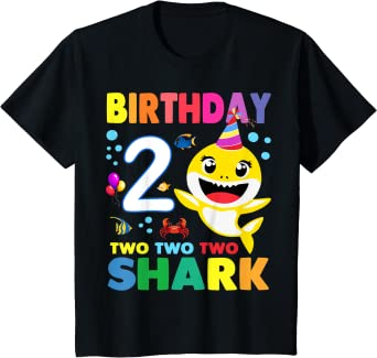 Bambino Compleanno 2 Due Anni Regalo 2 Year Old Baby Shark Birthday Maglietta