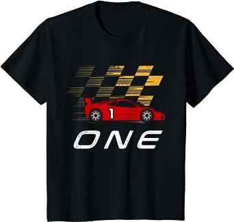 Kids 1st Birthday Race Car Shirt Gift I Funny One Year Old Boys T-Shirt