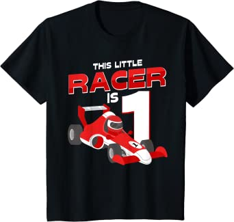 Kids Race Car 1st Birthday Costume This Little Racer Is One Year T-Shirt