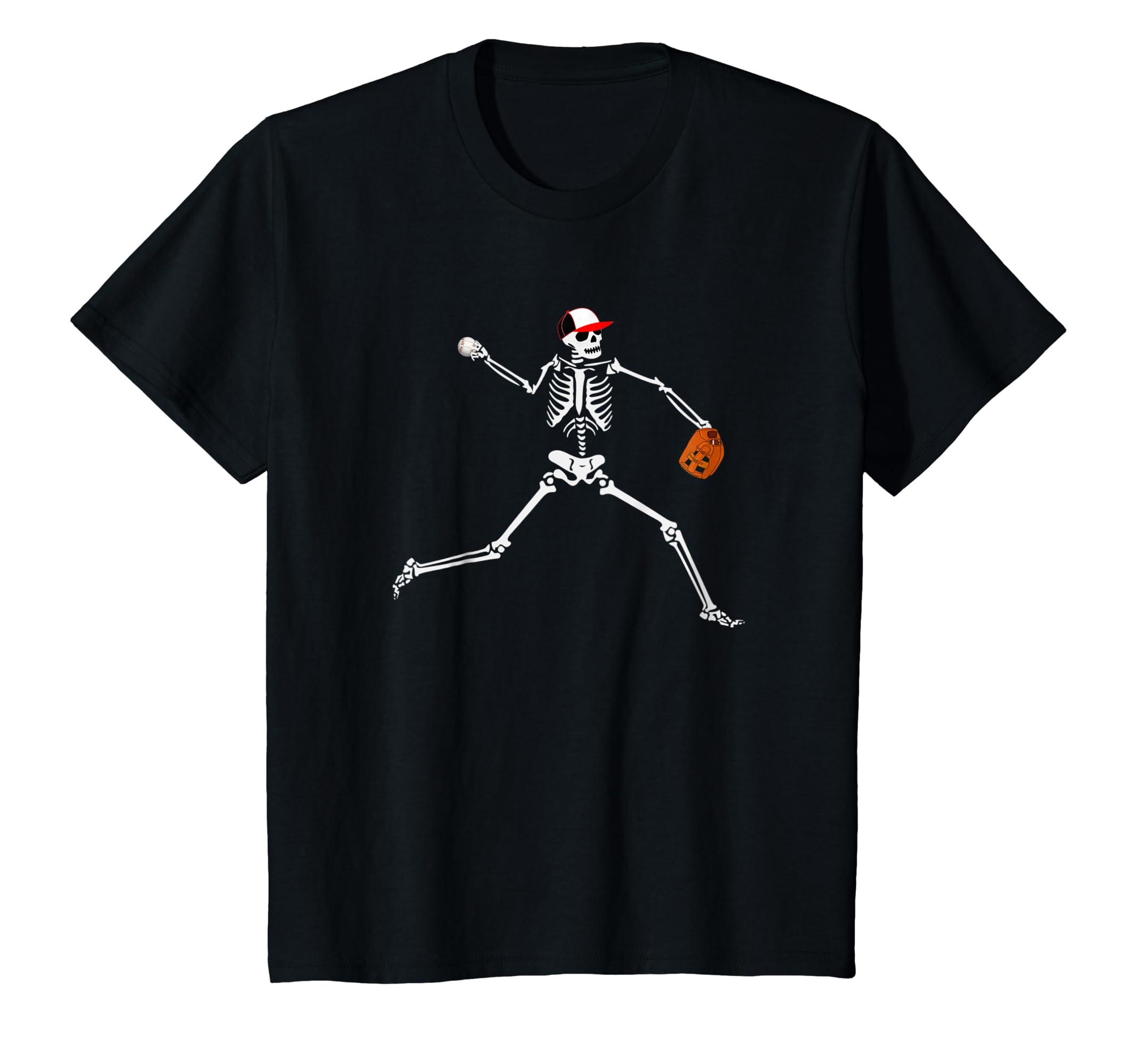 Baseball Skeleton Halloween Shirt Baseball Pitcher Tshirt-4LVS