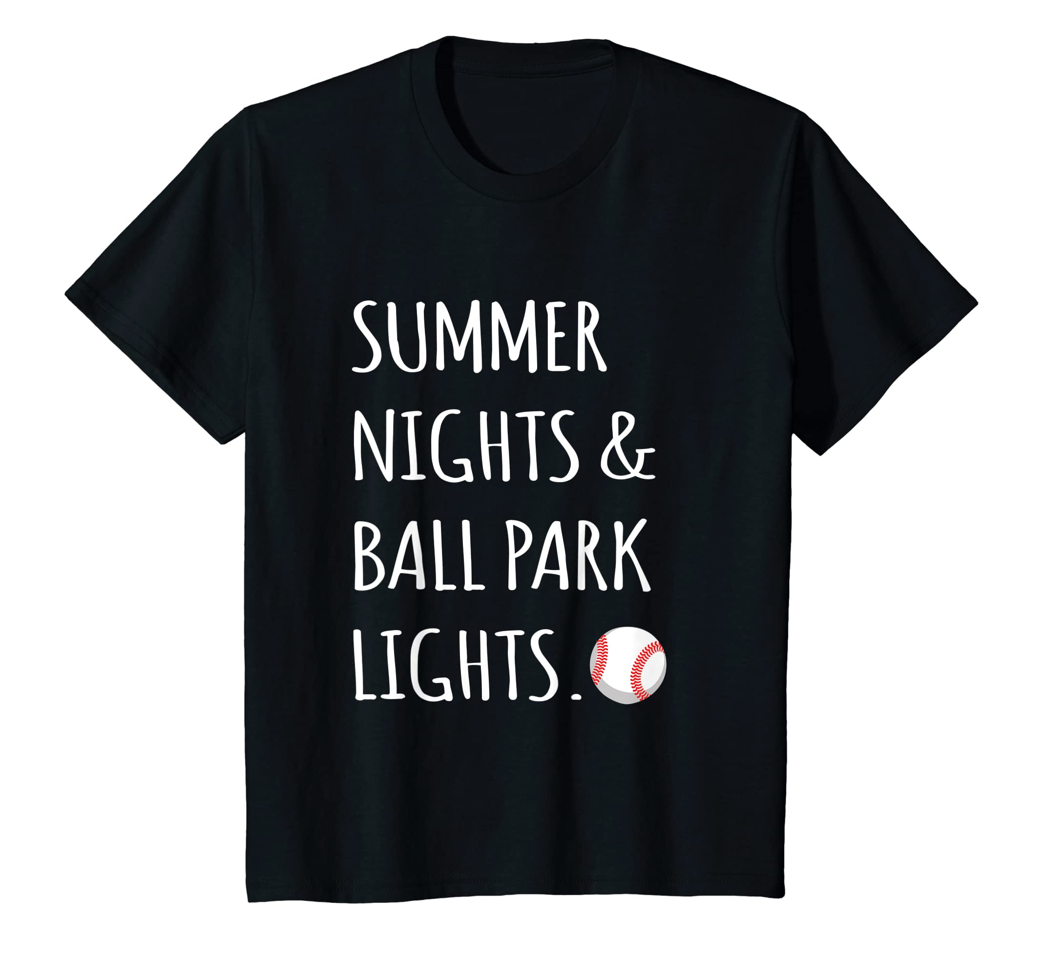 8f4f6af488f2 Amazon.com  Summer nights and ballpark lights - Youth baseball t shirt   Clothing