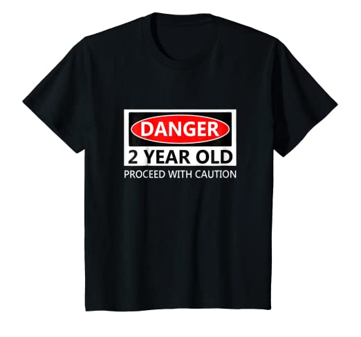459c3cb54 Image Unavailable. Image not available for. Color: Kids Danger 2 Year Old  Proceed With Caution Birthday T-Shirt