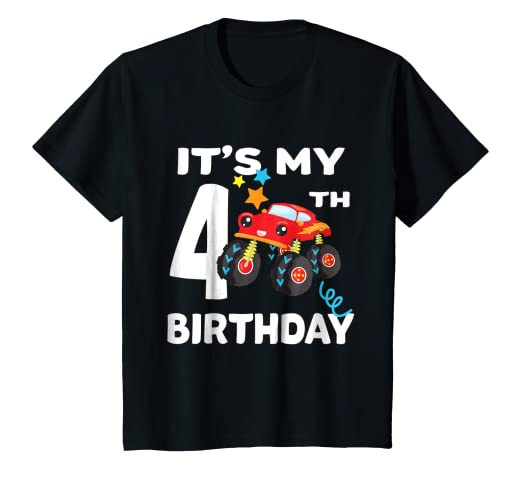 Amazon Kids 4 Year Old Birthday Boy Gift Monster Truck Shirt I