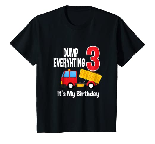 Amazon Kids Dump Truck Happy 3rd Birthday T Shirt For Kid Boys