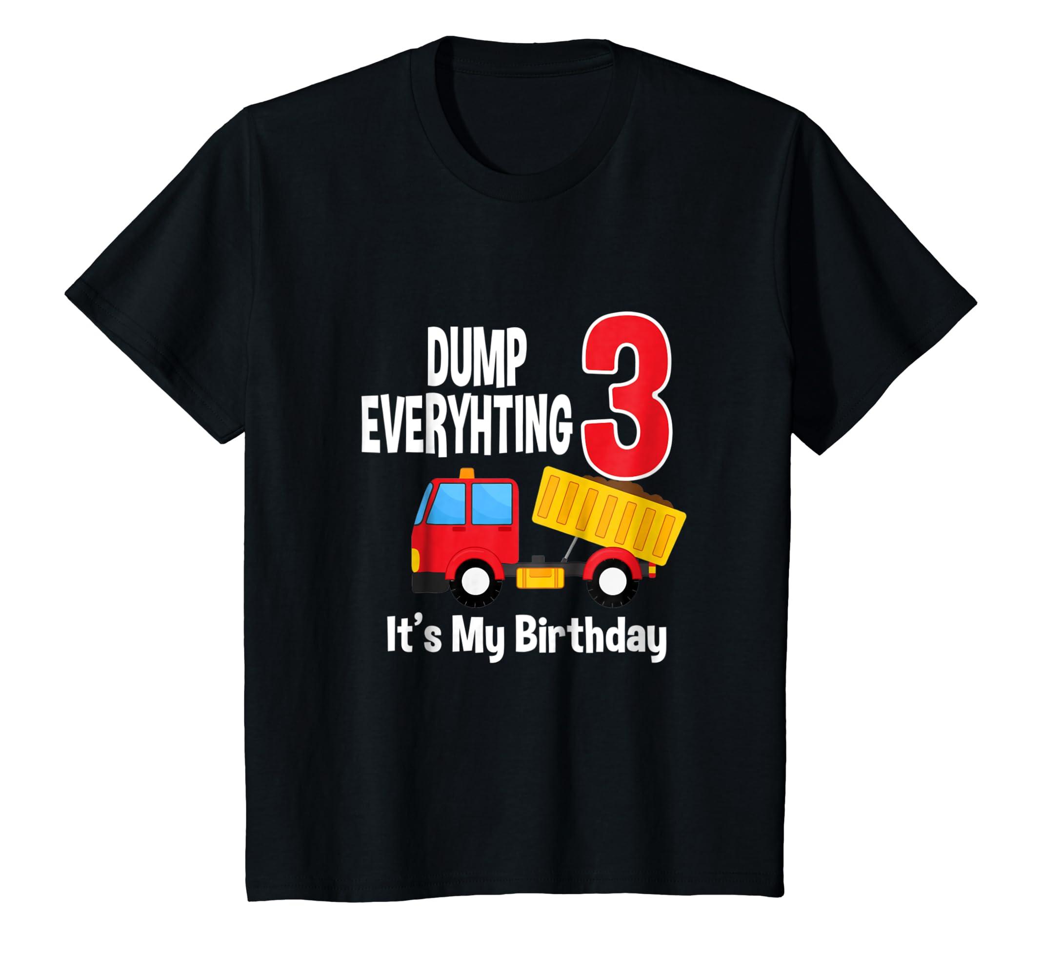Amazon Kids Dump Truck Happy 3rd Birthday T Shirt For Kid Boys And Girl Clothing
