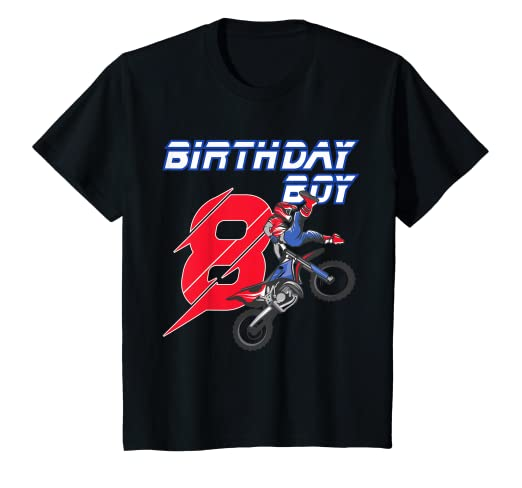 Image Unavailable Not Available For Color Kids 8 Year Old Dirt Bike Birthday T Shirt