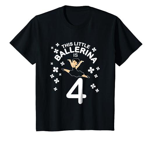b2420687b9ca Amazon.com  Kids 4th Birthday Girls Ballerina T-Shirt Dance 4 Year ...