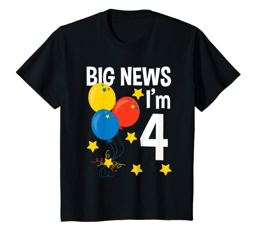 Amazon Kids Big News Im 4 Year Old Birthday Party T Shirt